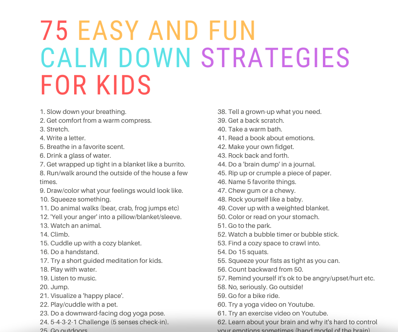 calm down strategies for kids