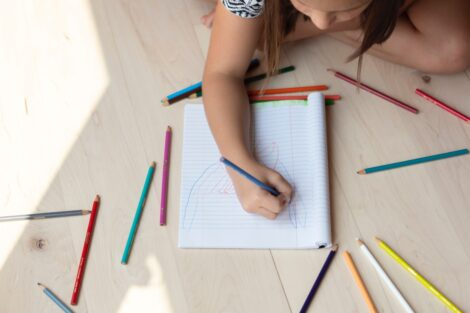 Child doing art for mental health day